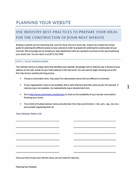 The Church Website Planning Guide you get for free just for inquiring